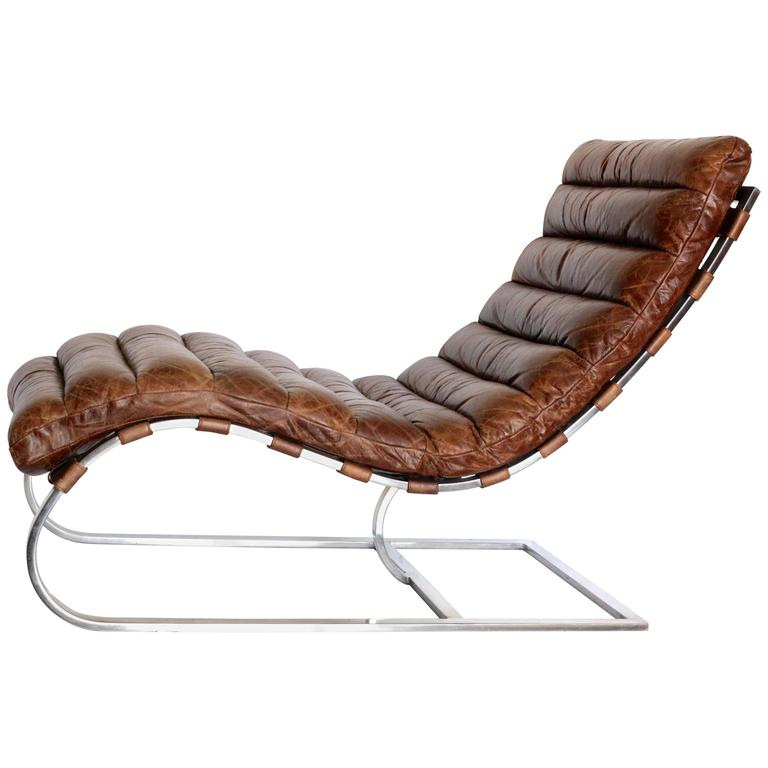 French Distressed Tufted Leather Chaise Longue Chair With Chrome Base For