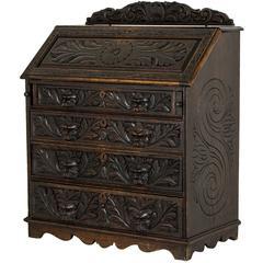 Antique Scottish Gothic Carved Oak Slant Front Desk, Bureau
