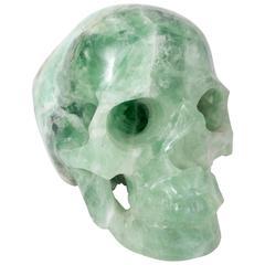 Large Vintage Hand-Carved Green Fluorite Human Skull