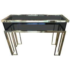 Italian 1970s Brass and Glass Console Table by Romeo Rega