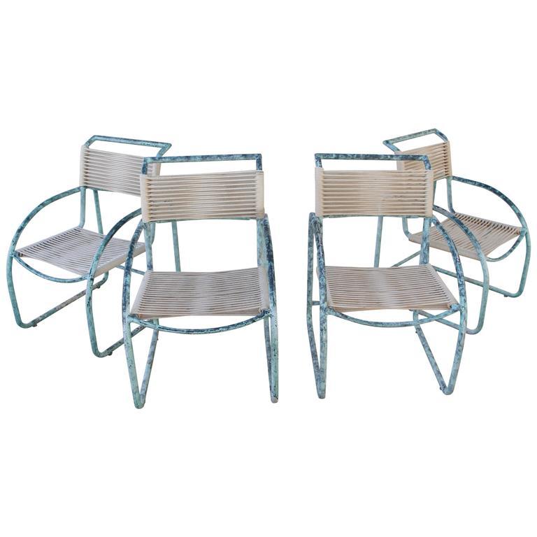 Kipp Stewart Style Patinated Aluminium Roped Outdoor Chairs