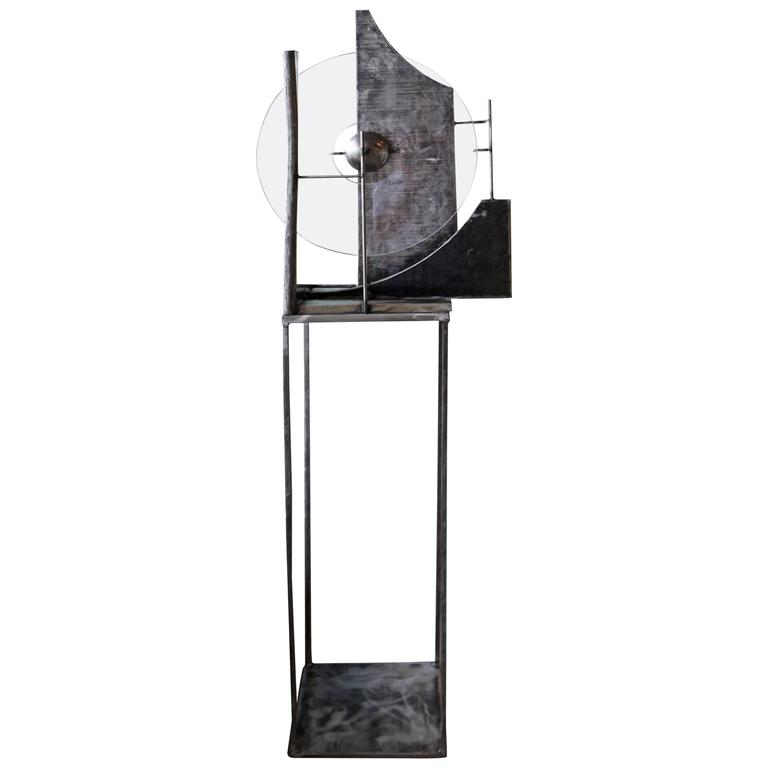 Handmade Steel and Lucite Sculpture on a Steel Stand