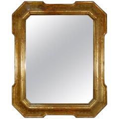 19th Century Romantic Mecca Gold Gilt Mirror with Bulinatura Hand Engraving