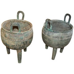 Pair Chinese Bronze Censers Circa 1900