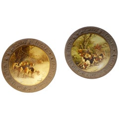 Pair of Early 19th Century Art Antique Hunting Scenes on Concave Tin Plates 1850
