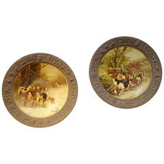 Pair of Early 19th Century Art Antique Hunting Scenes on Concave Tin Plates