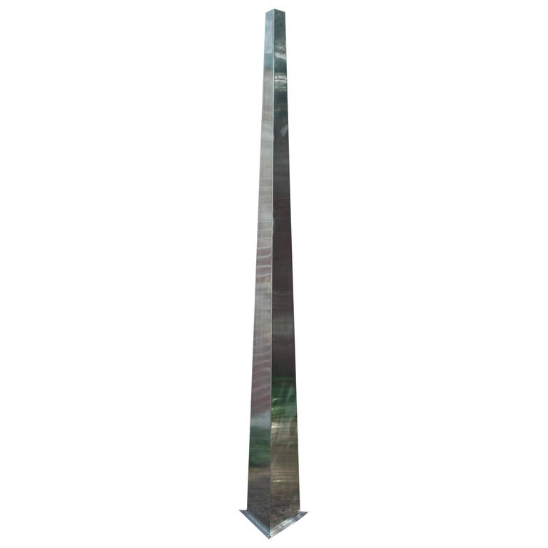 Large Stainless Steel Triangular Obelisk Sculpture, Garden or Yard For Sale