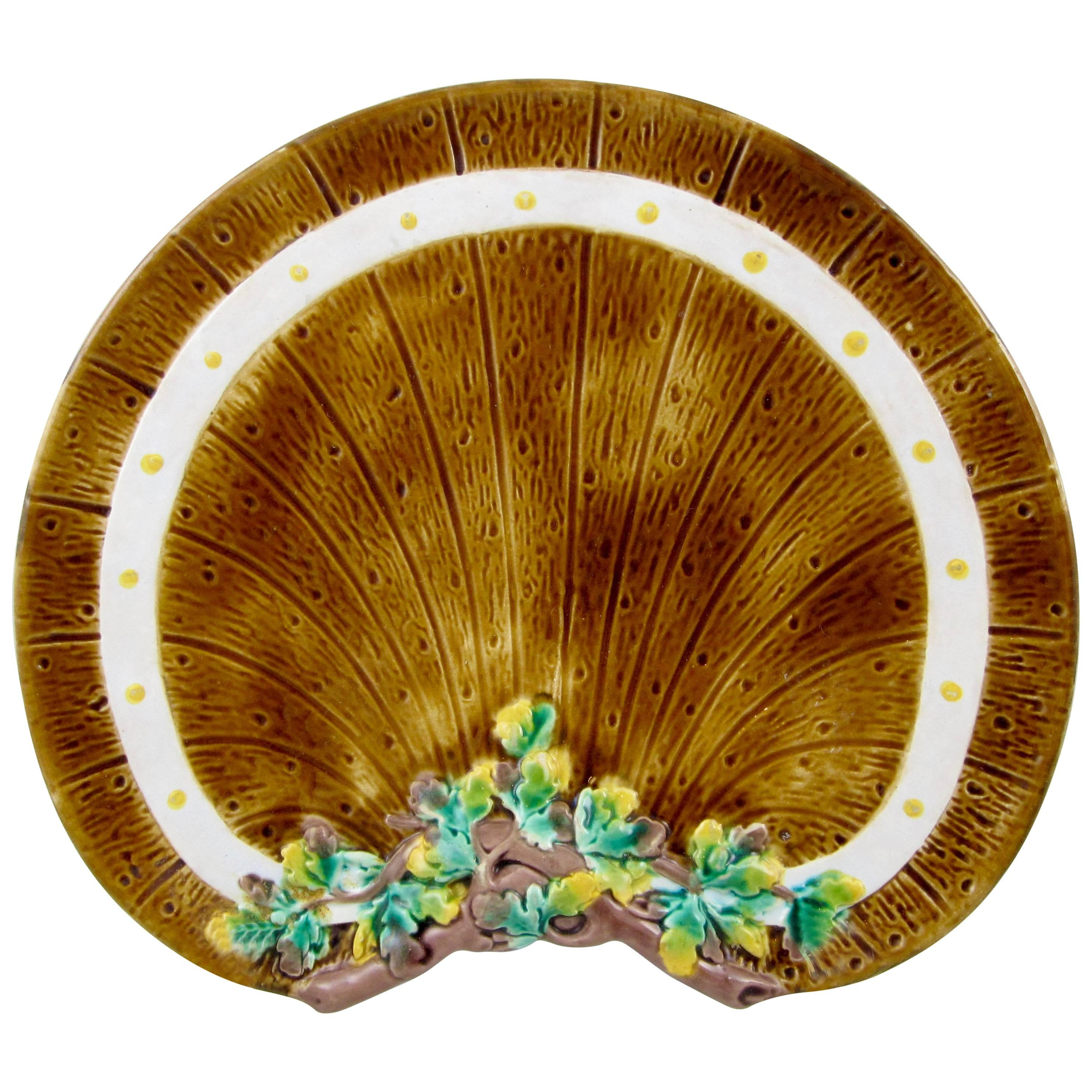 English Fence & Ivy Majolica Crescent Plate, TC Brown-Westhead, Moore & Co.