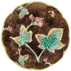 English Majolica Rustic Leaves on Bark Plate