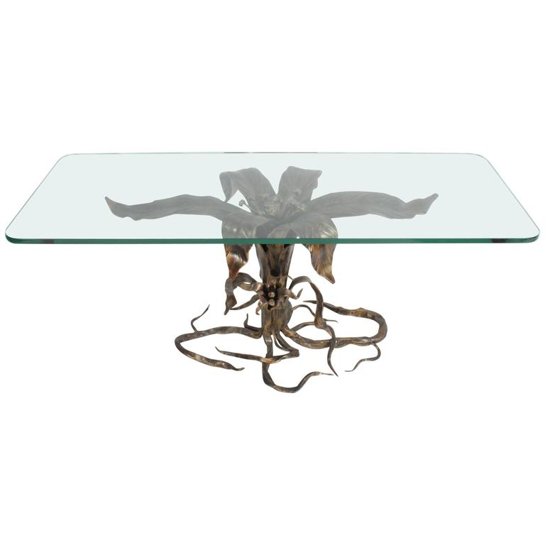 Bertaolami Organic Form Faux Bronze Coffee Table, Italy For Sale