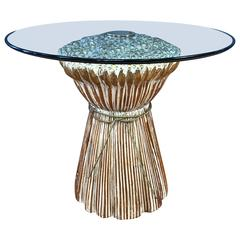 Sculptural Carved Wood Wheat Sheaf Table with Glass Top
