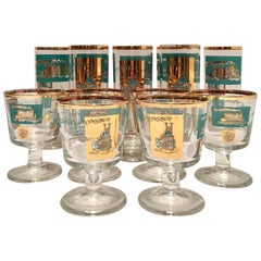 "Mid-Century ""River Boat"" 22-Karat Gold Drink Glasses S/14"