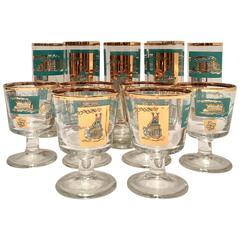 "Mid-Century ""Steamboat"" 22-Karat Gold Drink Glasses, Set of 14"