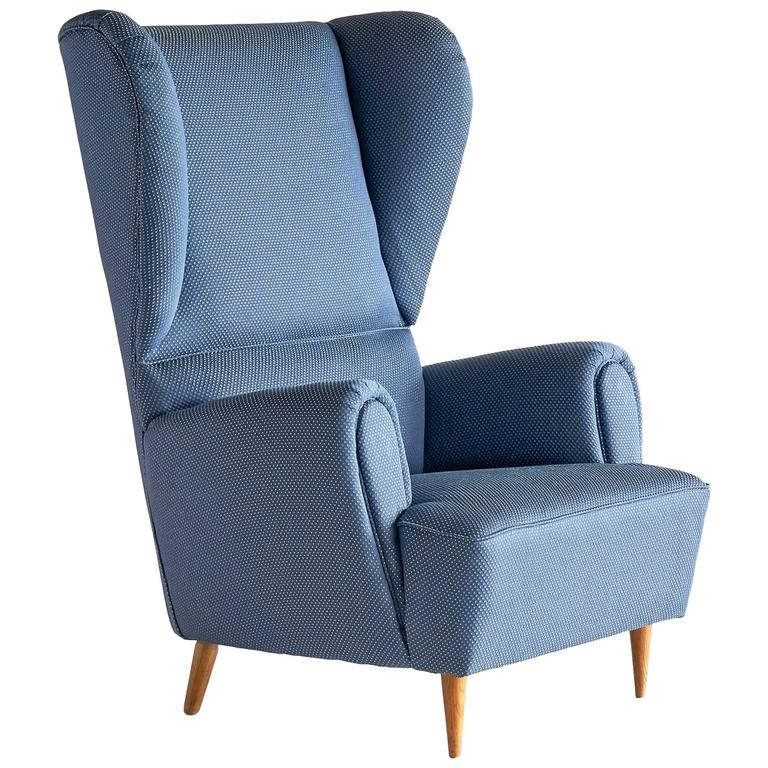 1940s Paolo Buffa Wingback Chair Newly Upholstered In Rubelli Fabric For  Sale