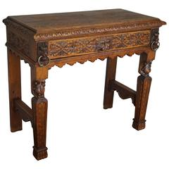 19th Century Hand-Carved Side Table with Drawer, Lion Heads, Green Man and Fruit