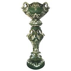 Art Nouveau Ceramic Pedestal and Its Planter, circa 1900