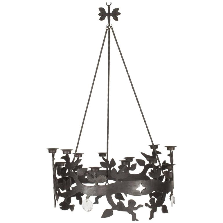 Wrought Iron and Glass Chandelier by Bertil Vallien For Sale