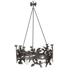 Wrought Iron and Glass Chandelier by Bertil Vallien