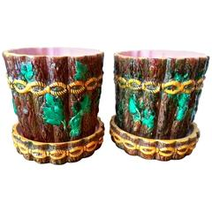 19th Century Pair of George Jones Majolica Tree Stump Planter