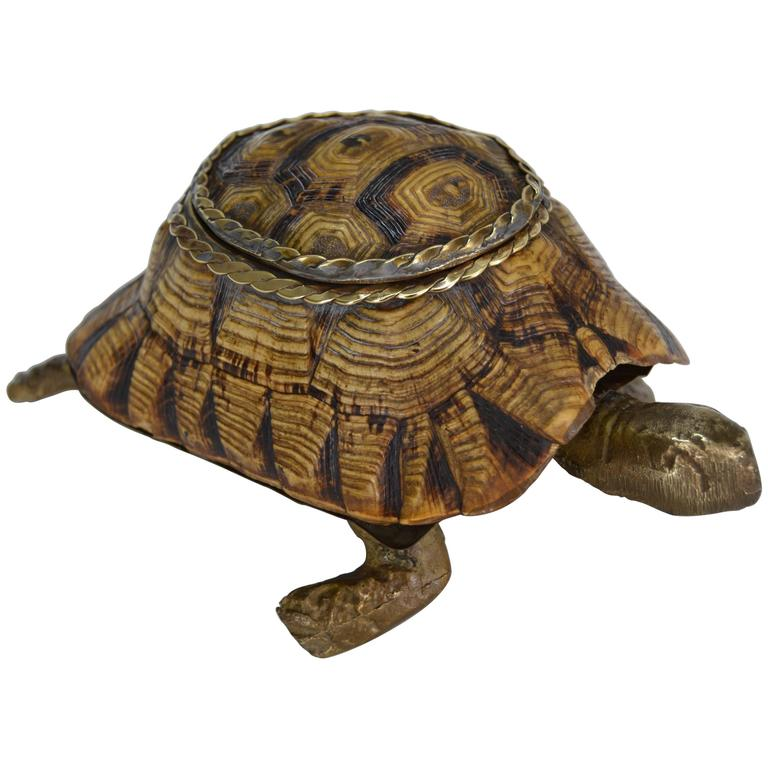 1970s Turtle Shell and Bronze Box For Sale