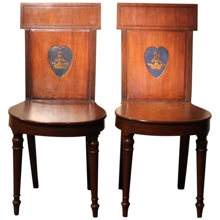 Pair of Regency Mahogany Hall Chairs, circa 1810 - Antique Oak Hall Chairs, Regency Hall Chairs, Scotland, 1820, B1089