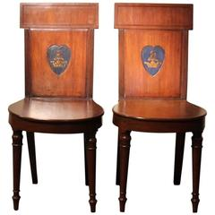 Pair of Regency Mahogany Hall Chairs, circa 1810