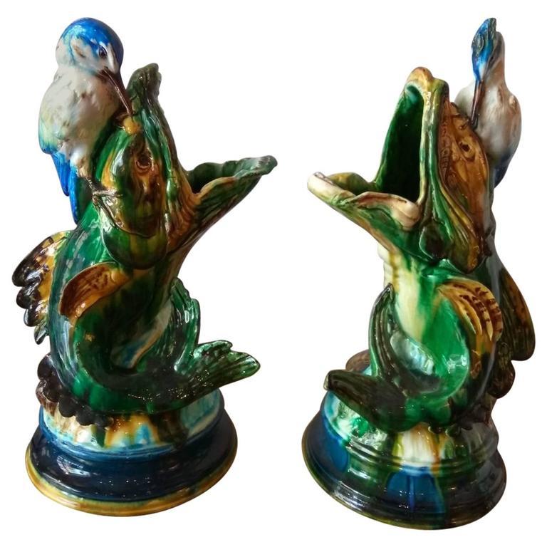 Parvillèe Pair of Carps & Heron, circa 1870 For Sale