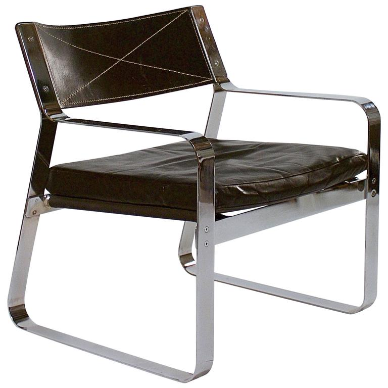 Polished Steel and Black Leather Armchair For Sale