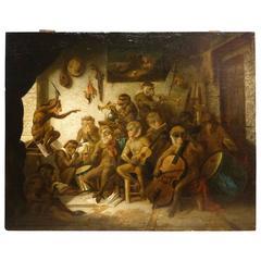 Orchestra of Monkeys, French School, circa 1850