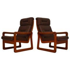 Pair of Danish Retro Teak and Leather Armchairs, Vintage, 1970s