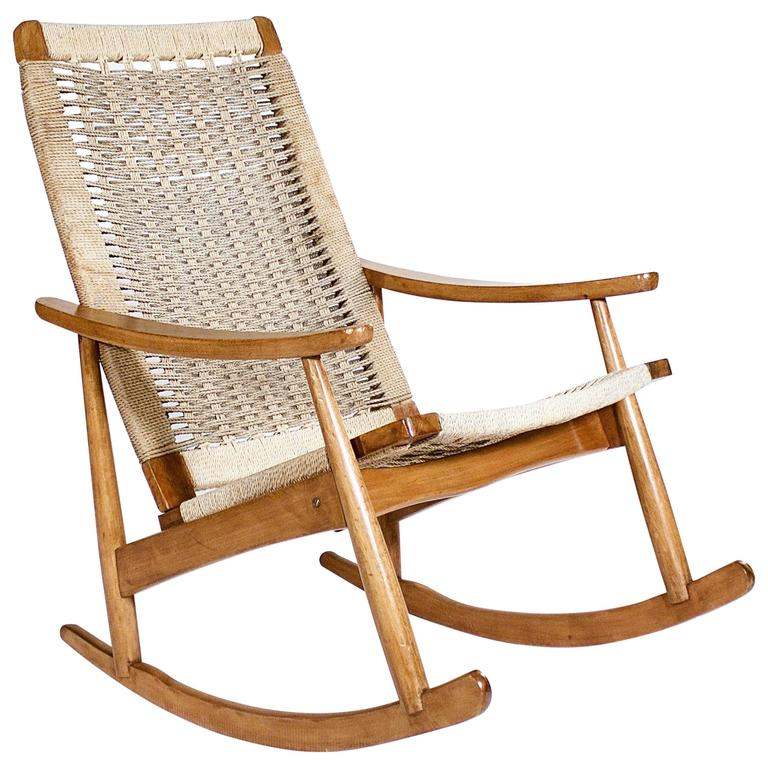 Teak Rocking Chair With Cord Strung Seat And Back For