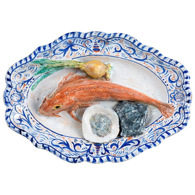 Charles-Jean Avisseau Faience Plate with Red Mullet