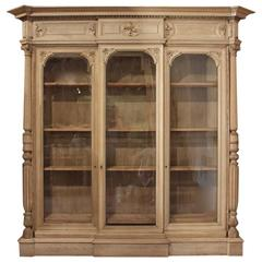 Large 19th Century Bleached Oak Country House Bookcase, circa 1860