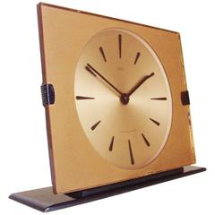 English Mid-Century Peach Mirror, Lucite and Enamel Mechanical Clock by Smiths