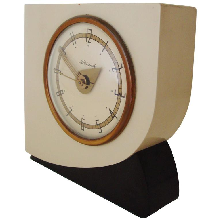 Rare american art deco lacquered wood and brass electric Art deco alarm clocks