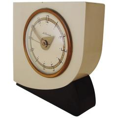 Rare American Art Deco Lacquered Wood & Brass Electric Alarm Clock by McClintock