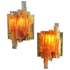 Set of Two Orange Acrylic Wall Lights Model 1004 by Claus Bolby, Denmark, 1970
