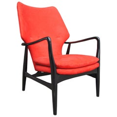 Ebonized High Back Karen Lounge Chair by Aksel Bender Madsen for Bovenkamp