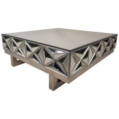 Mid-Century Modern Square Mirror Coffee Table in the Style of Milo Baughman