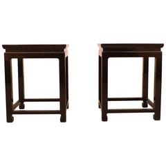 Fine Black Lacquer End Tables