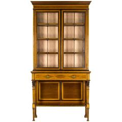 Antique American Tiger Oak Bow Front China Display Curio