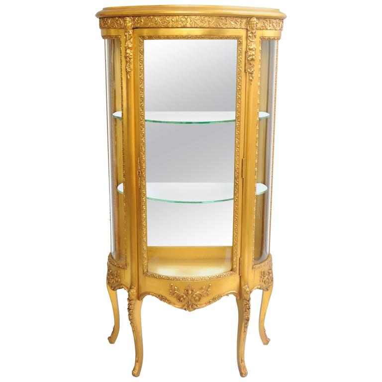 Small French Louis XV Style Gold Giltwood Curved Glass Vitrine Curio Cabinet  For Sale