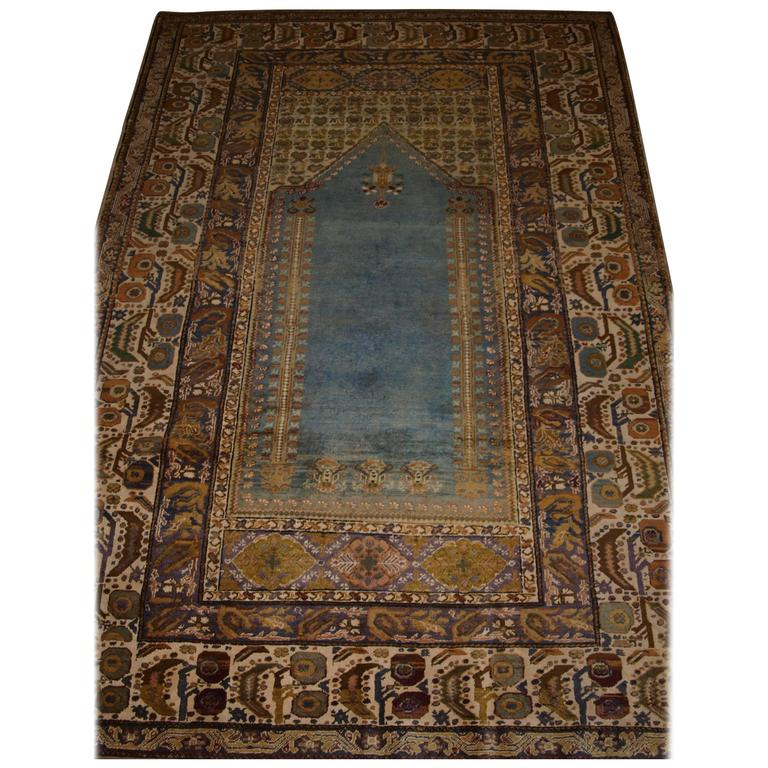 Antique Turkish Ghiordes Prayer Rug Of Traditional Design With Sky Blue Field For Sale