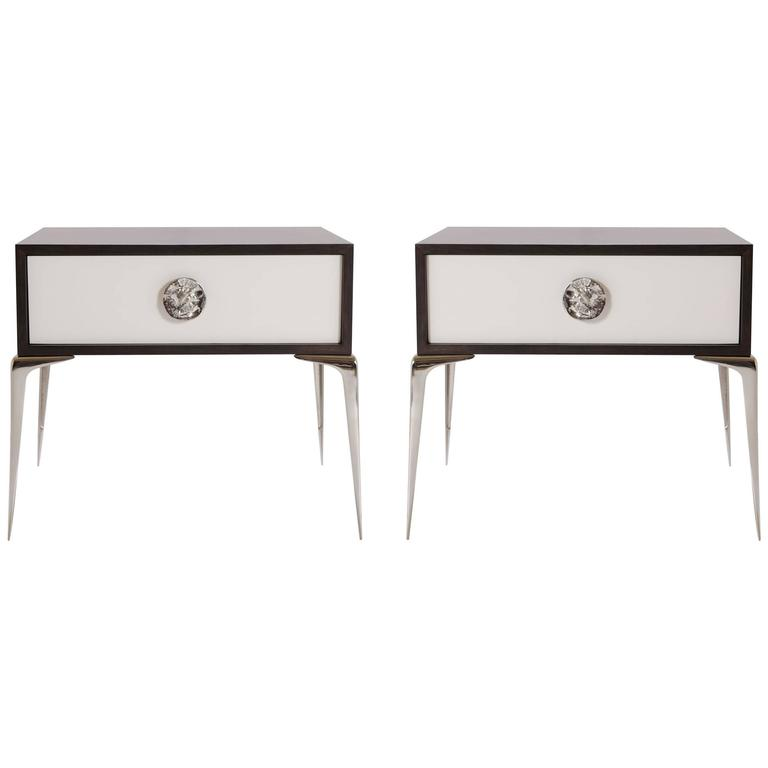 Colette Nickel Nightstands in Ebony and Ivory by Montage, Pair