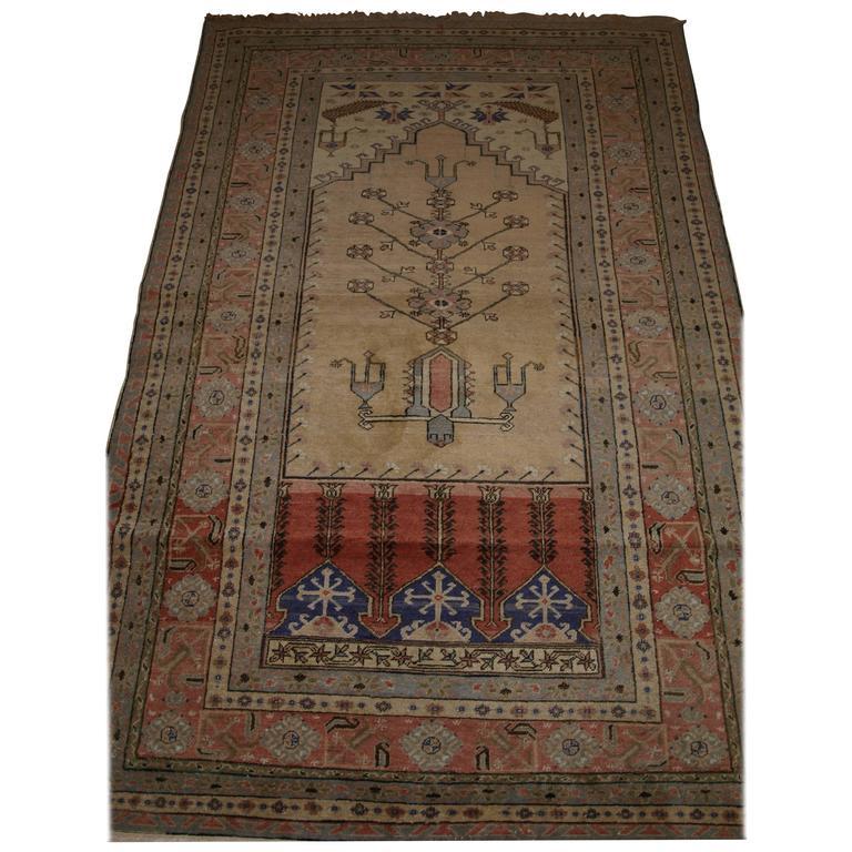 Antique Turkish Kayseri Prayer Rug of Traditional Ladik Design