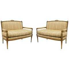 Pair of Gold French Louis XVI Style Settees Loveseat Carved Sofas