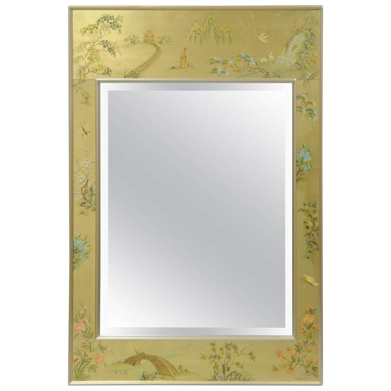 Labarge Chinoiserie Style Gold Eglomise Wall Mirror Reverse Painted Asian Signed For Sale