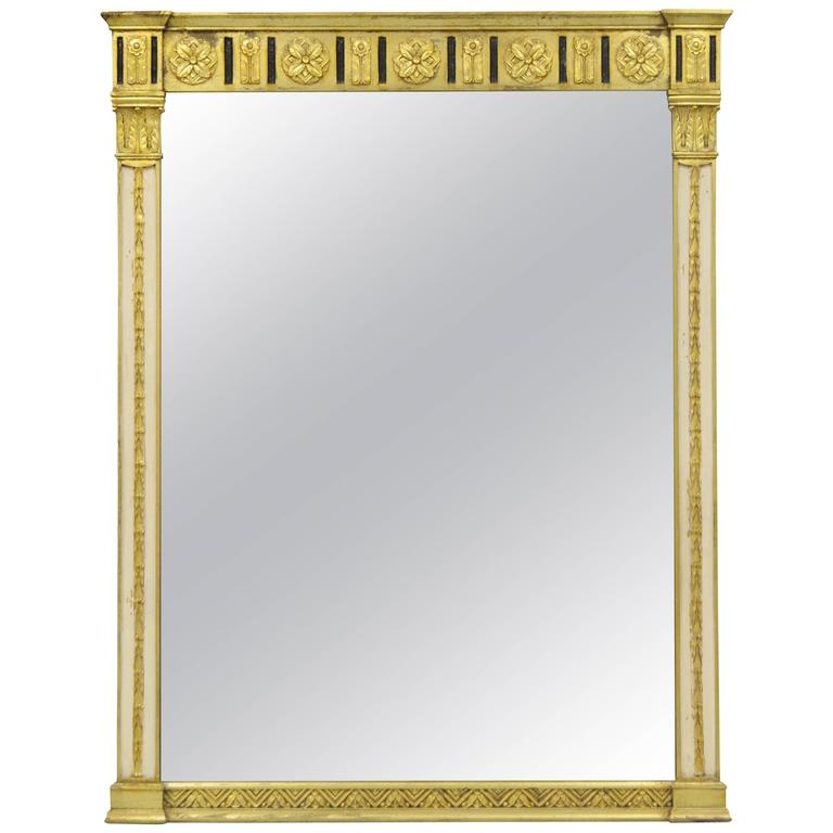 Italian Neoclassical Gold Giltwood Rectangular Wall Mirror Console Pier Table