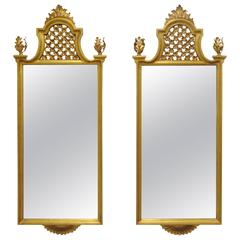 Pair of Italian Gold Giltwood Wall Console Mirrors Hollywood Regency Iron Tole