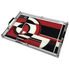 Art Deco Geometric Glass Serving Tray